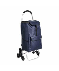 Carrello portaspesa con 6 ruote, colore blu navy 1